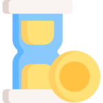 Hourglass and money icon