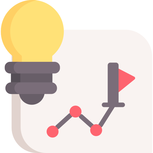 Map of path and lightbulb icon