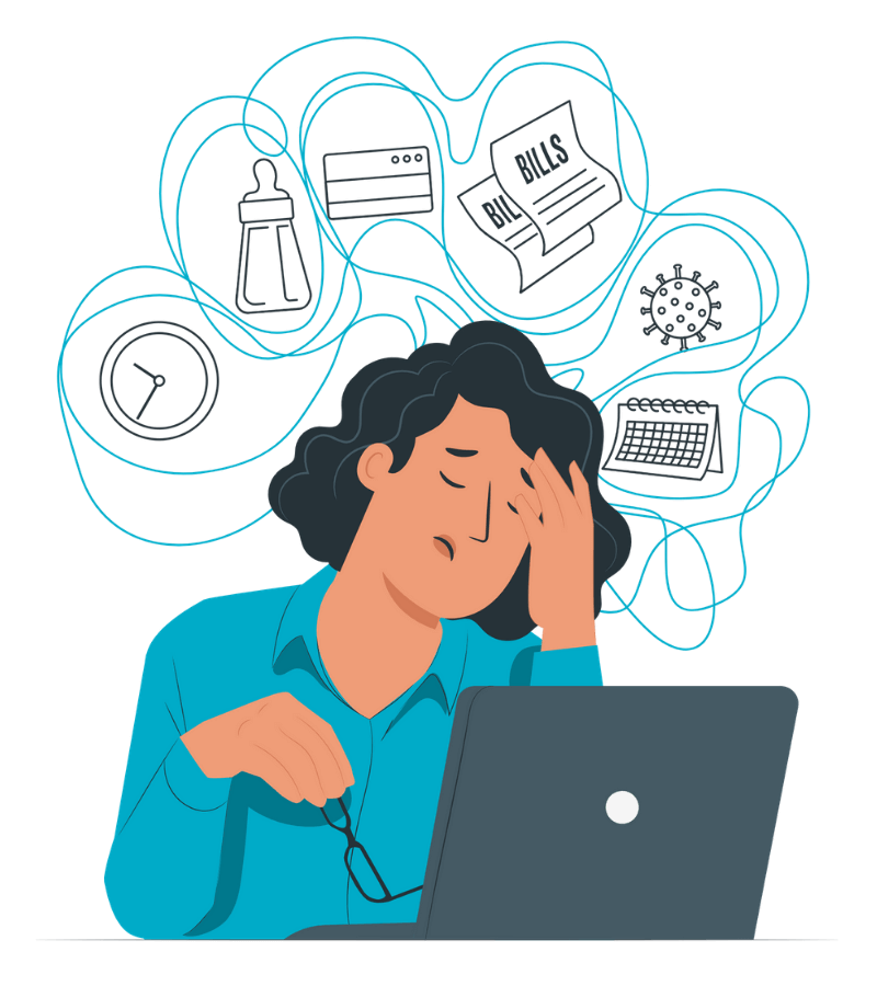 Illustration of business owner stressed and overwhelmed with tasks
